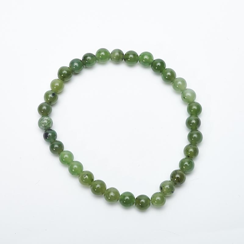 Браслет нефрит зеленый  6 мм 17 см кабошон нефрит зеленый 12 16 мм