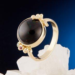 Кольцо опал благородный черный Эфиопия (золото 585 пр.) размер 16,5