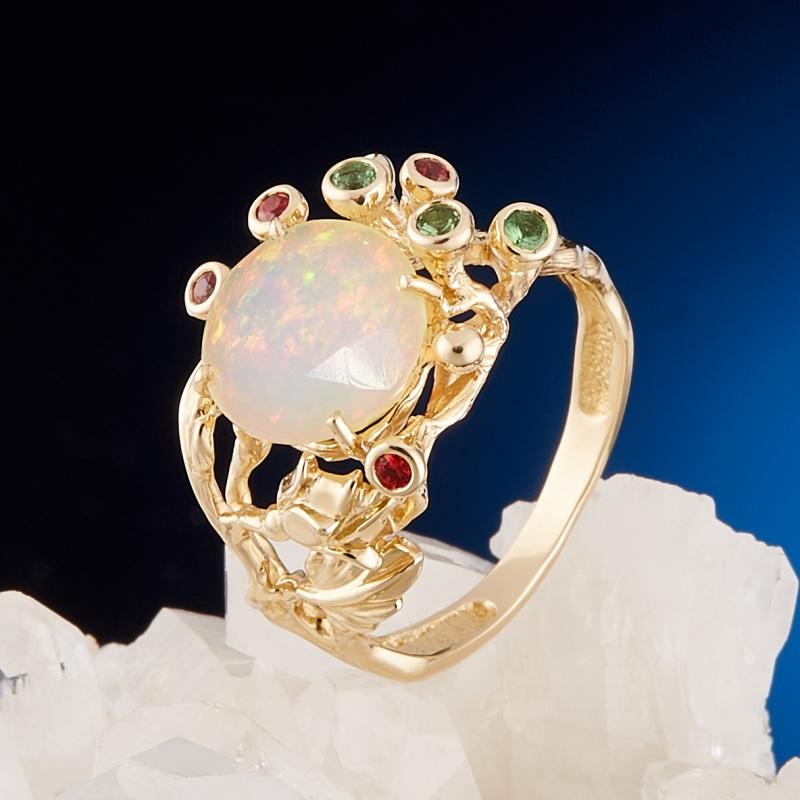 Кольцо опал благородный белый  огранка (золото 585 пр.) размер 17,5