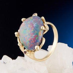 Кольцо опал благородный (триплет) Эфиопия (золото 585 пр.) размер 16,5