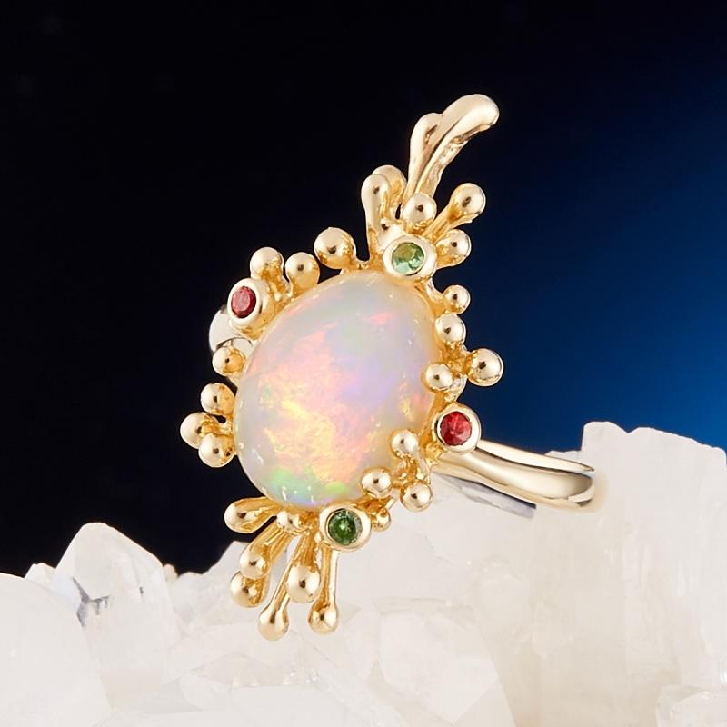 Кольцо опал благородный желтый (золото 585 пр.) размер 18