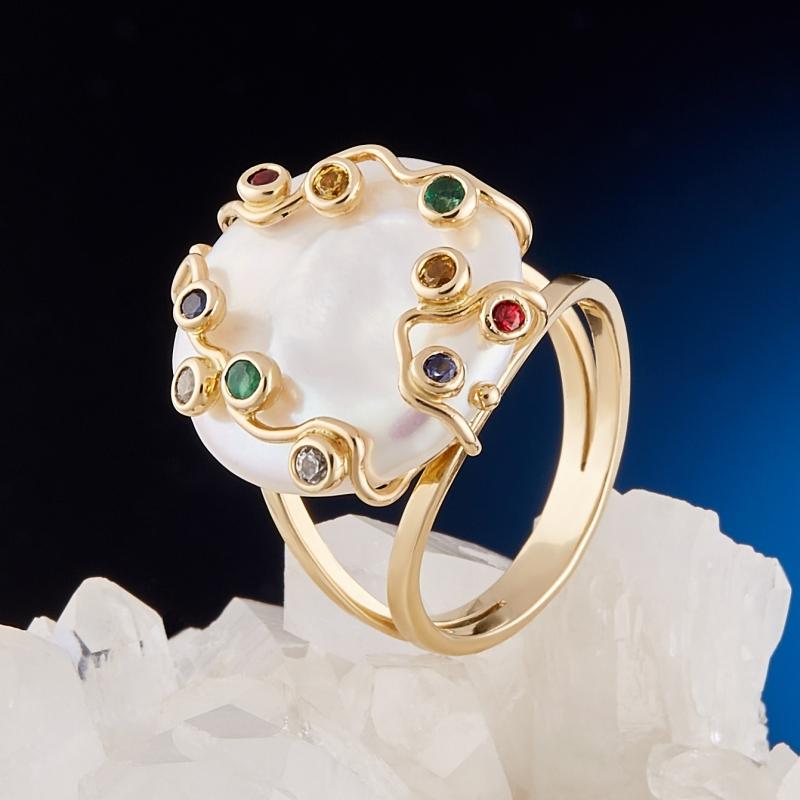 Кольцо жемчуг белый (золото 585 пр.) размер 17