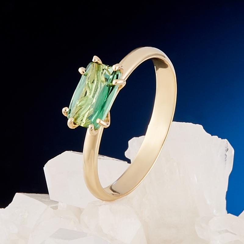 Кольцо турмалин зеленый (верделит)  огранка (золото 585 пр.) размер 17,5 браслет авантюрин зеленый огранка 10 мм 17 cм