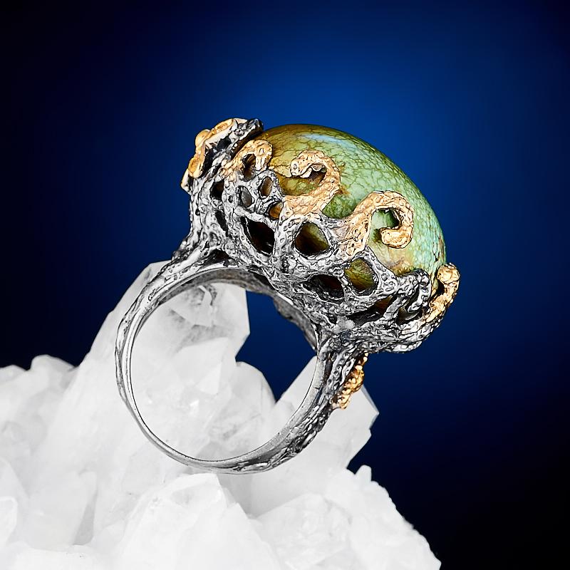 Кольцо бирюза Узбекистан (серебро 925 пр., позолота) размер 17