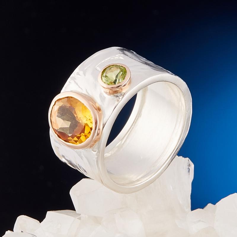 Кольцо цитрин  огранка (серебро 925 пр., позолота) размер 19,5