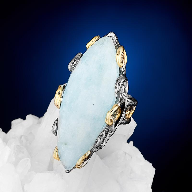 Кольцо аквамарин огранка (серебро 925 пр., позолота) размер 17 кольцо аквамарин серебро 925 пр позолота размер 18