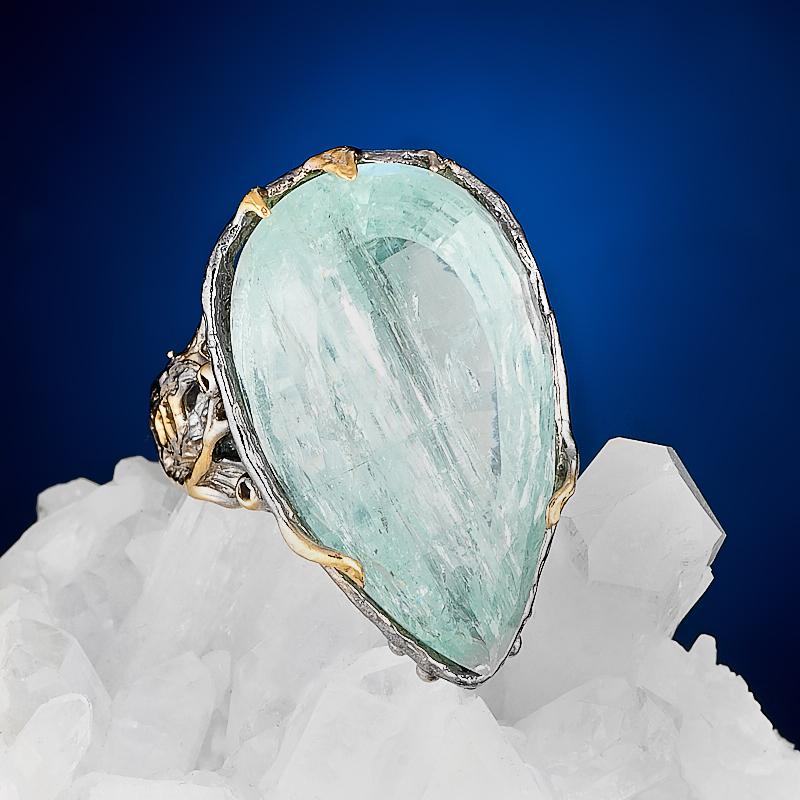 Кольцо аквамарин огранка (серебро 925 пр., позолота) размер 19 кольцо аквамарин серебро 925 пр позолота размер 18