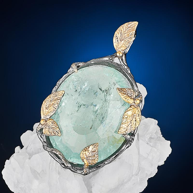 Кулон аквамарин  огранка (серебро 925 пр., позолота)