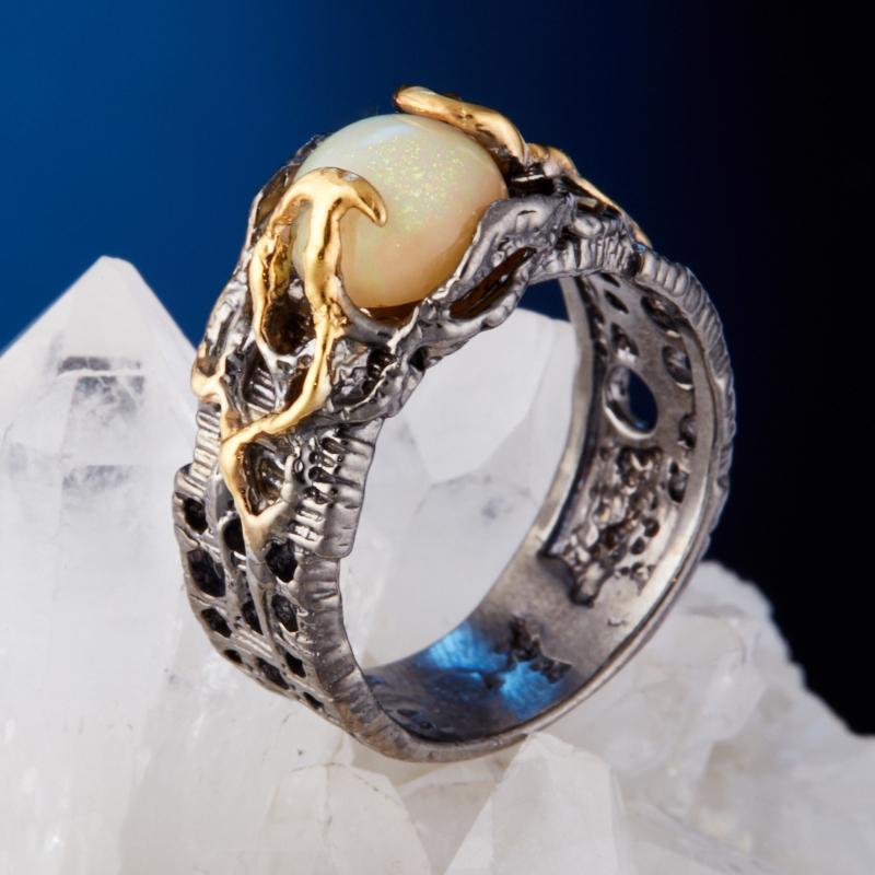 Кольцо опал благородный желтый  (серебро 925 пр., позолота) размер 18 кольцо авантюрин зеленый серебро 925 пр размер 18