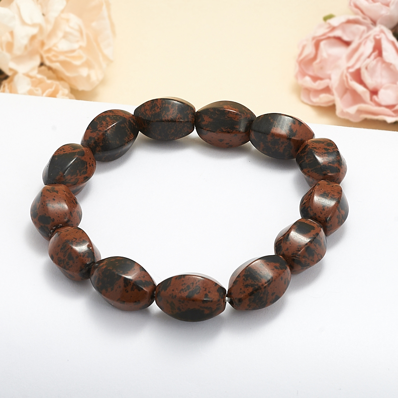 Браслет обсидиан коричневый  17 см