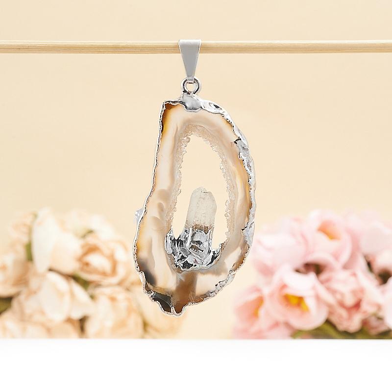 Кулон срез агат и кристалл горный хрусталь 4-5 см подвески бижутерные колечки кулон джессика коралл агат хрусталь