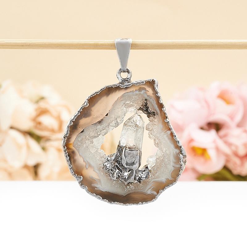 Кулон срез агат и кристалл горный хрусталь 4-5 см