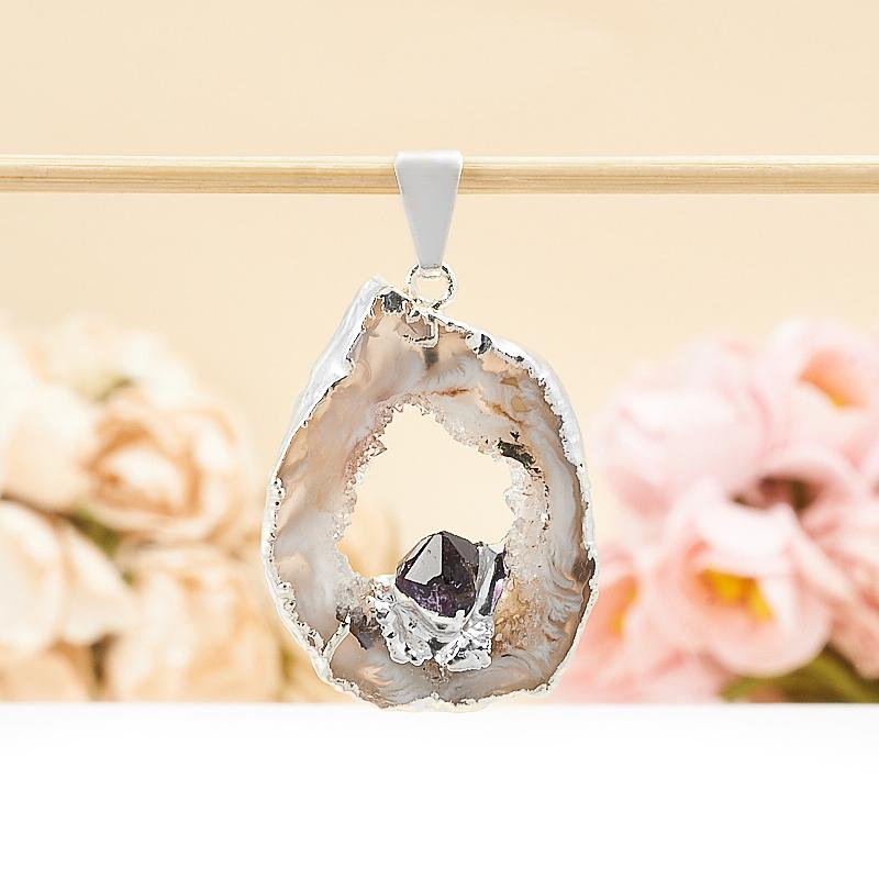 Кулон срез агат и кристалл аметист  4-5 см