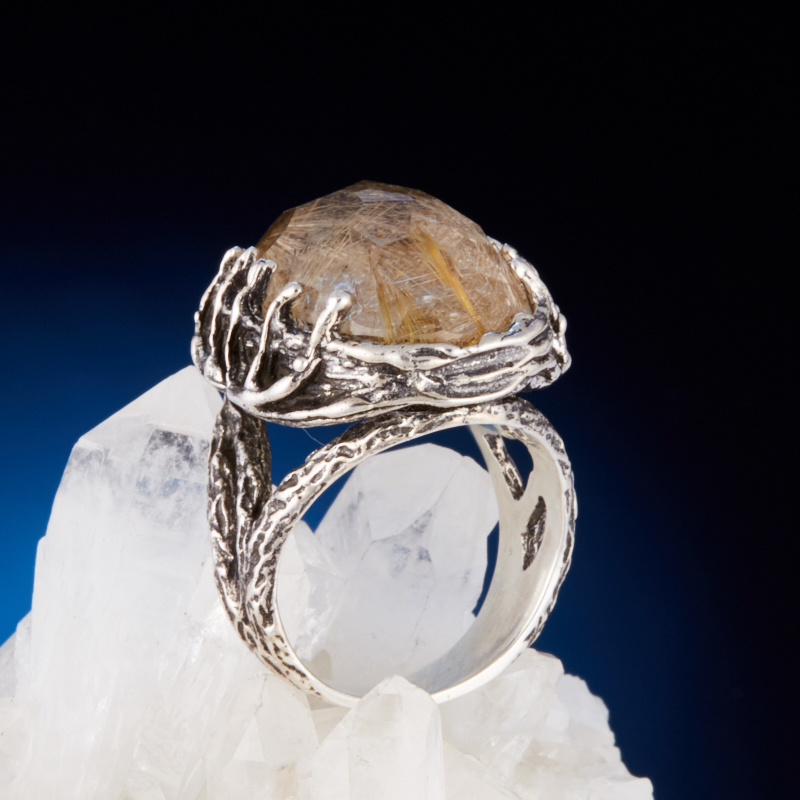Кольцо рутиловый кварц огранка (серебро 925 пр.) размер 18,5 стоимость