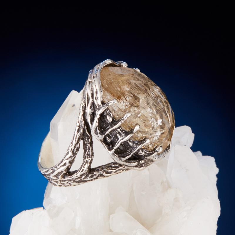Кольцо рутиловый кварц Бразилия огранка (серебро 925 пр.) размер 18,5