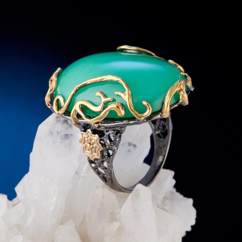 Кольцо хризопраз  (серебро 925 пр., позолота) размер 17,5