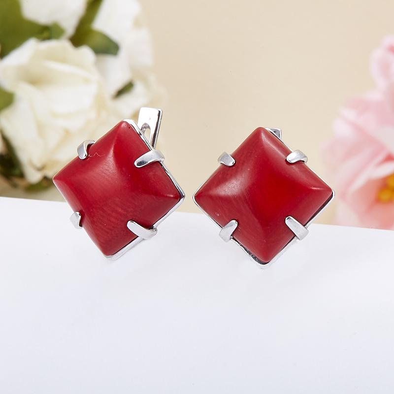 Серьги коралл красный  (серебро 925 пр.) браслеты indira браслет бирюза коралл gl0143