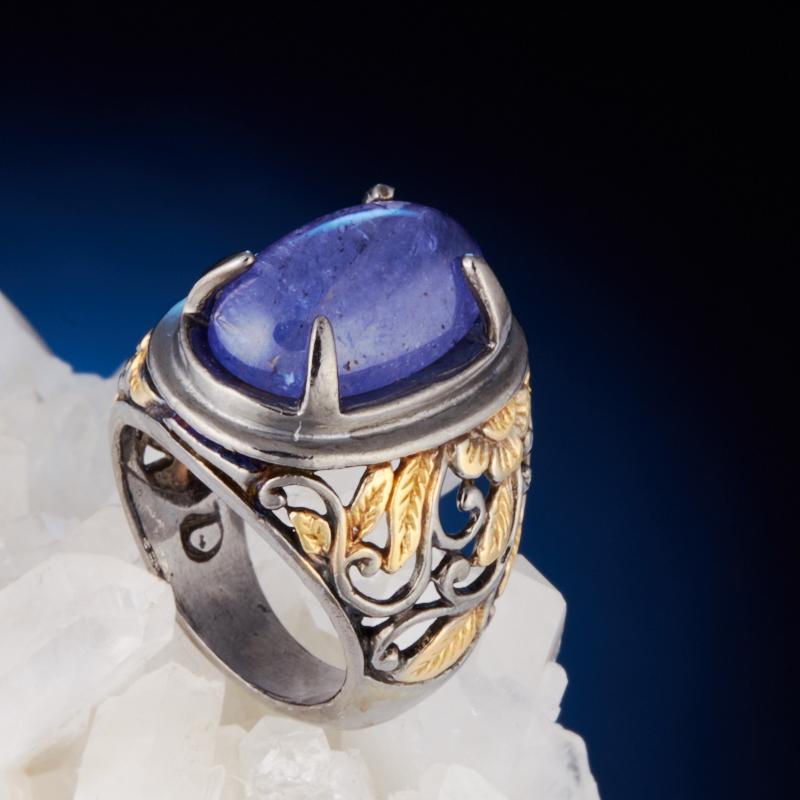 Кольцо танзанит  (серебро 925 пр., позолота) размер 17,5 кольцо авантюрин зеленый серебро 925 пр размер 18