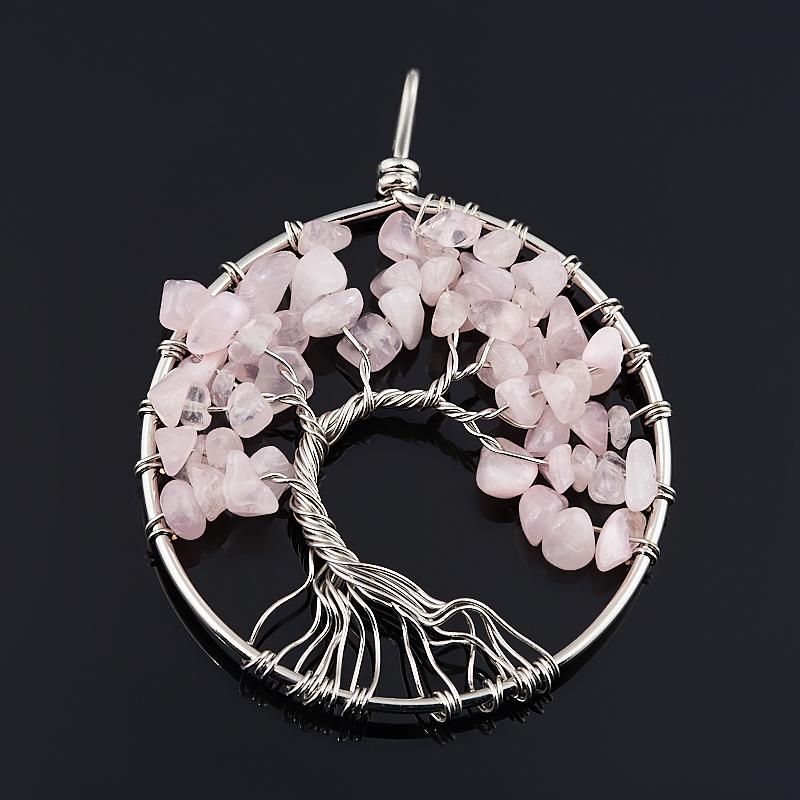 Кулон круг розовый кварц Бразилия 6-6,5 см