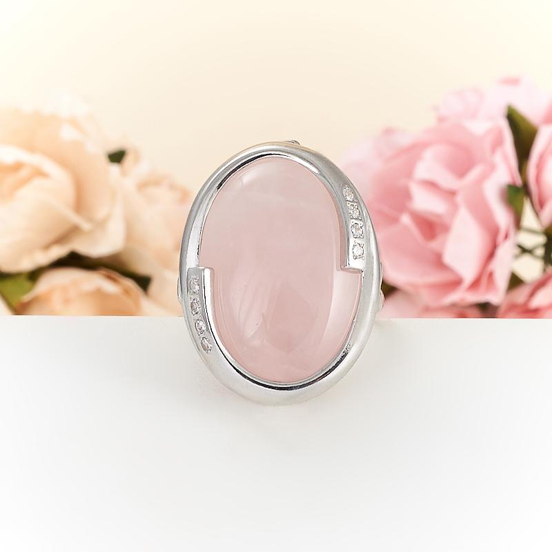 Кольцо розовый кварц  (серебро 925 пр.) размер 18