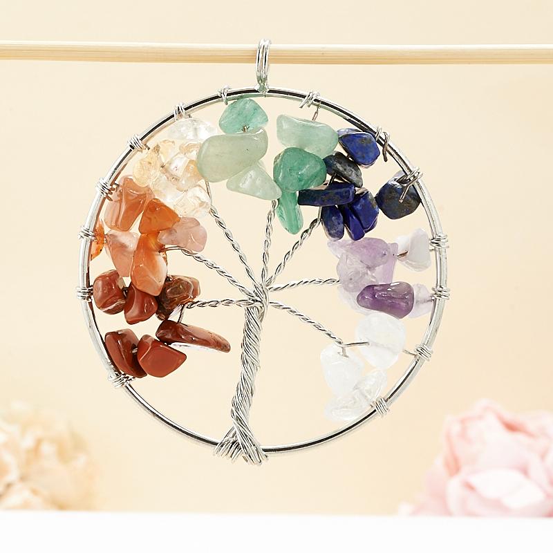 Кулон круг из разных видов камней 6 см