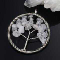 Кулон круг горный хрусталь Бразилия (биж. сплав) 5,5 см
