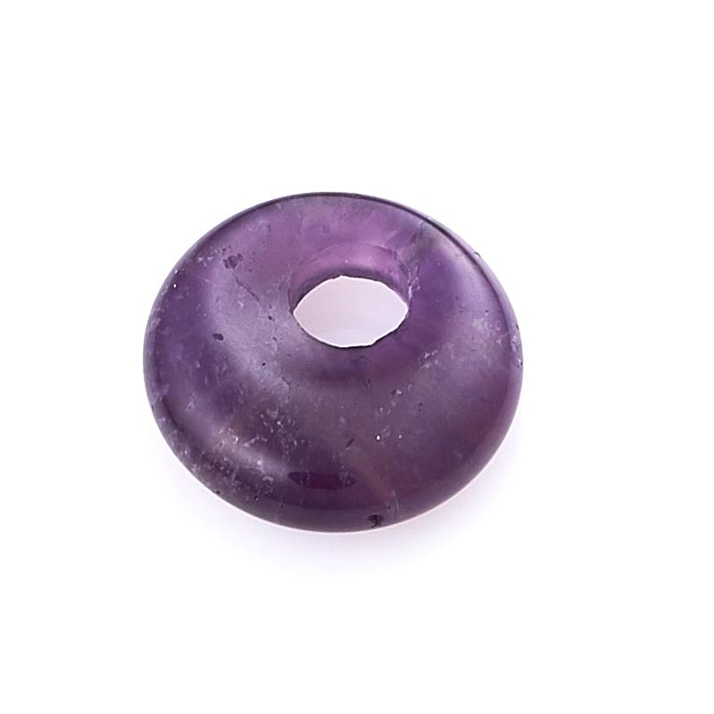 Кулон круг аметист 1,5-2 см