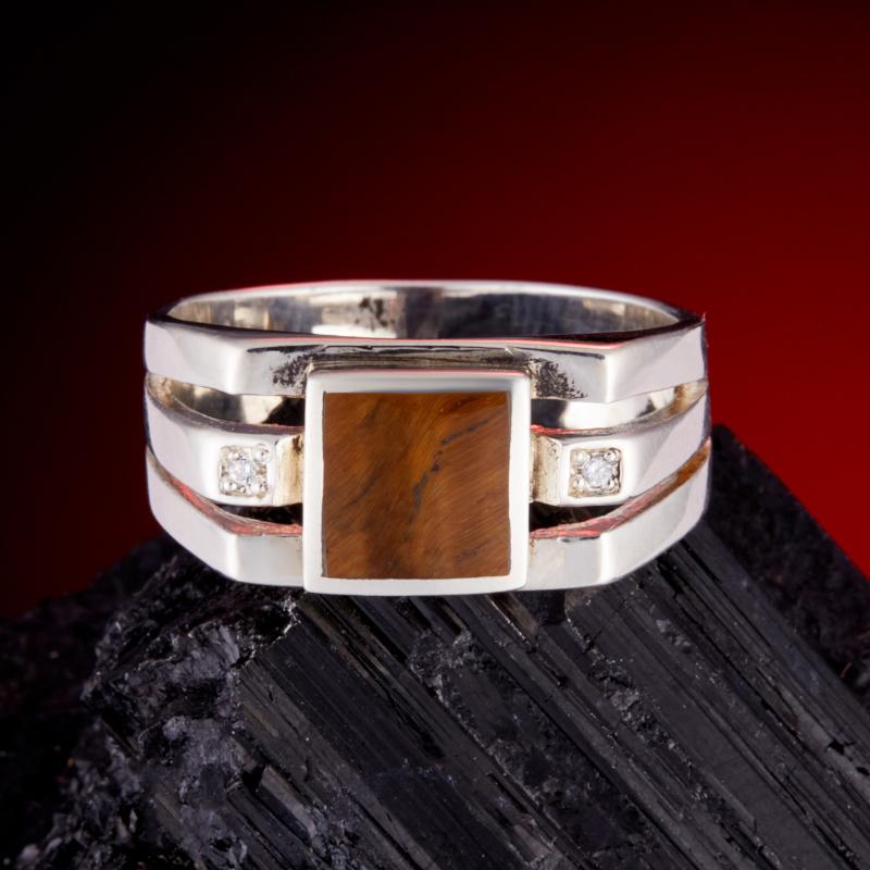 Кольцо тигровый глаз (серебро 925 пр.) размер 20,5 браслет тигровый глаз 8 мм 16 cм