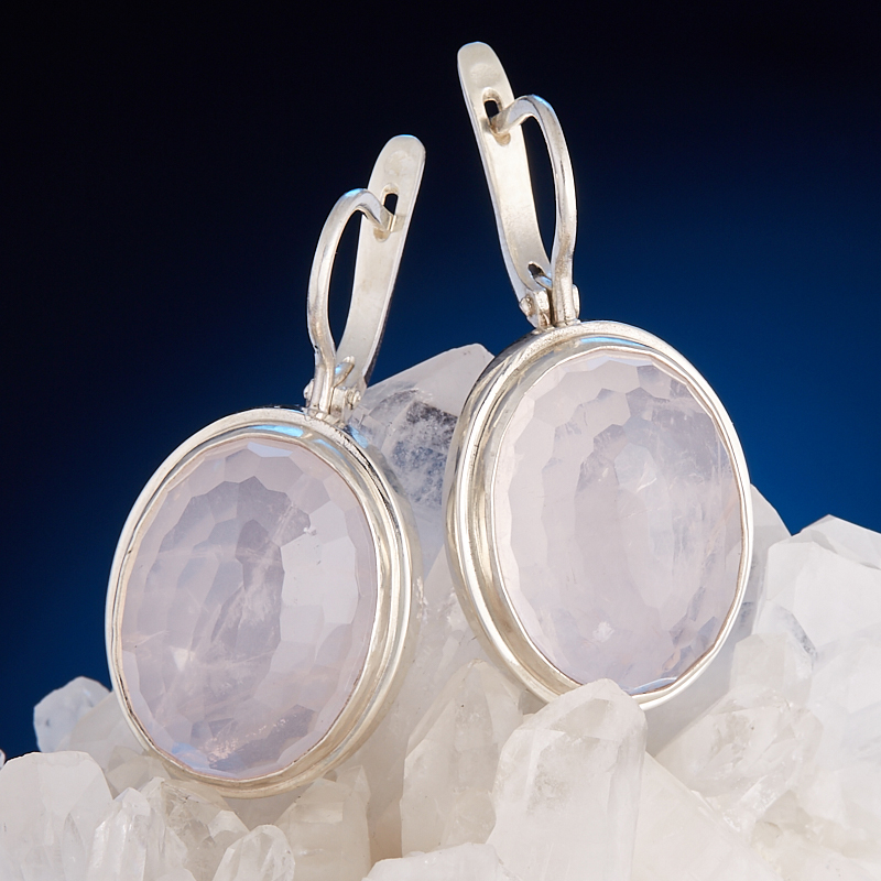 Серьги розовый кварц огранка (серебро 925 пр.) серьги розовый кварц огранка серебро 925 пр