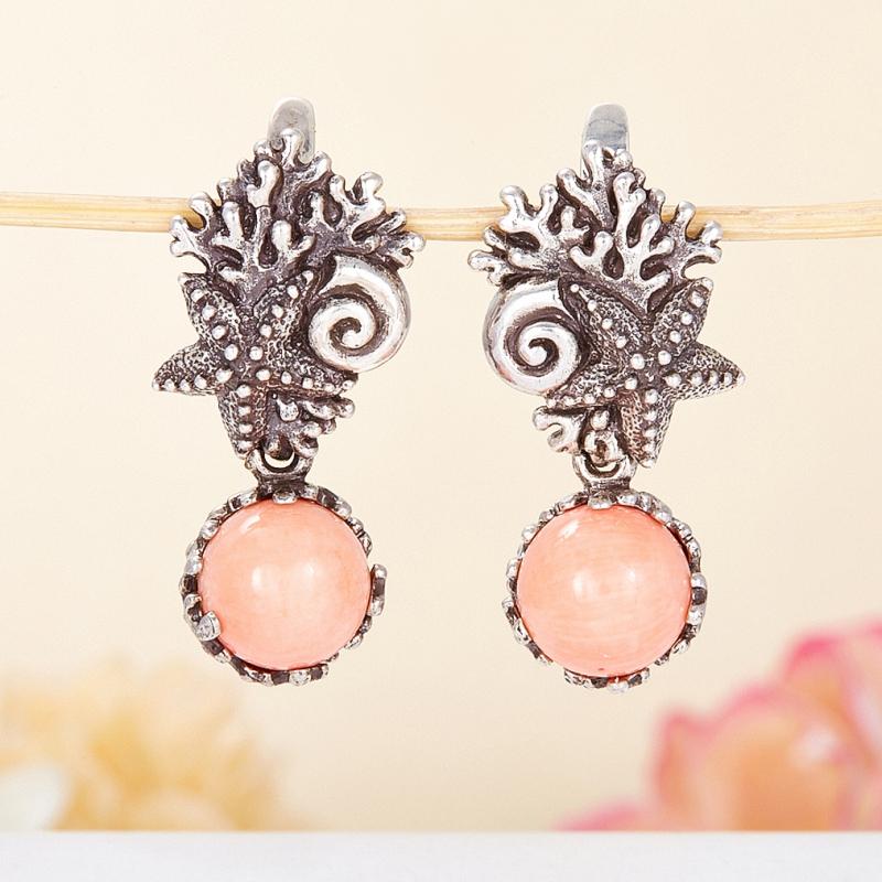 Серьги коралл розовый  (серебро 925 пр.)