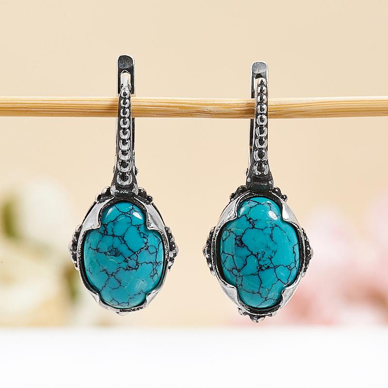 Серьги бирюза Тибет (серебро 925 пр.) щетки для одежды дерево счастья щетка для одежды