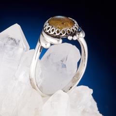 Кольцо турмалин желтый (дравит) Бразилия (серебро 925 пр.) размер 18,5