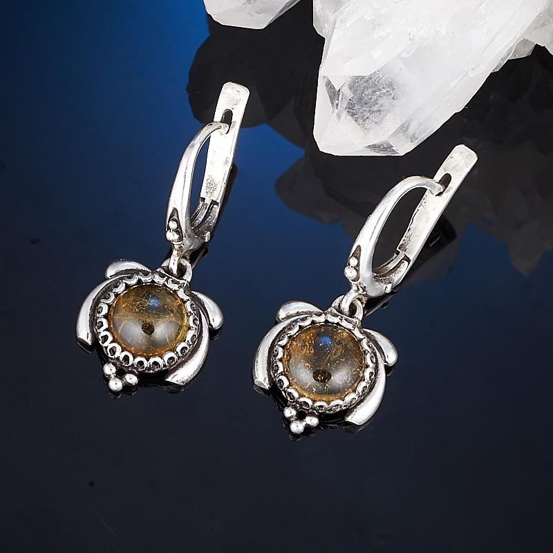 Серьги турмалин желтый (дравит) (серебро 925 пр.) серьги агат серый серебро 925 пр