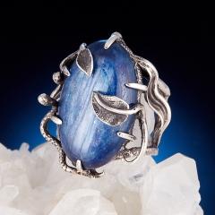 Кольцо кианит синий Бразилия (серебро 925 пр.) размер 17,5