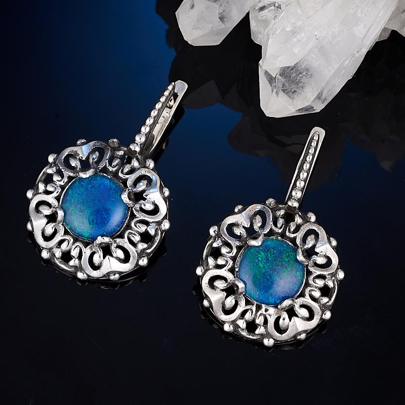Серьги опал благородный синий (триплет)  (серебро 925 пр.)