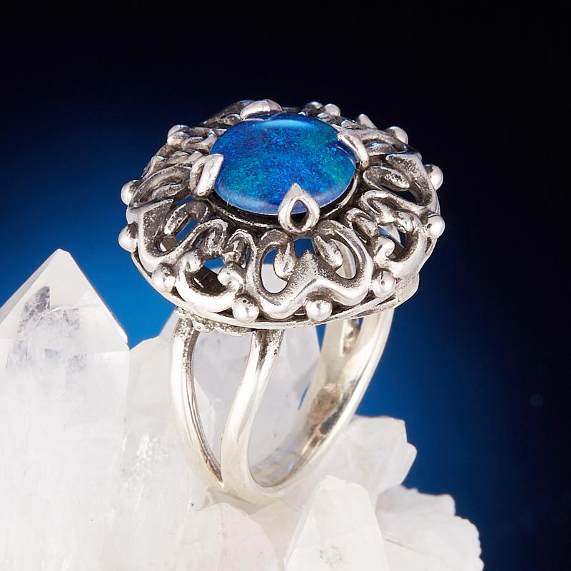 Кольцо опал благородный синий (триплет)  (серебро 925 пр.) размер 18,5