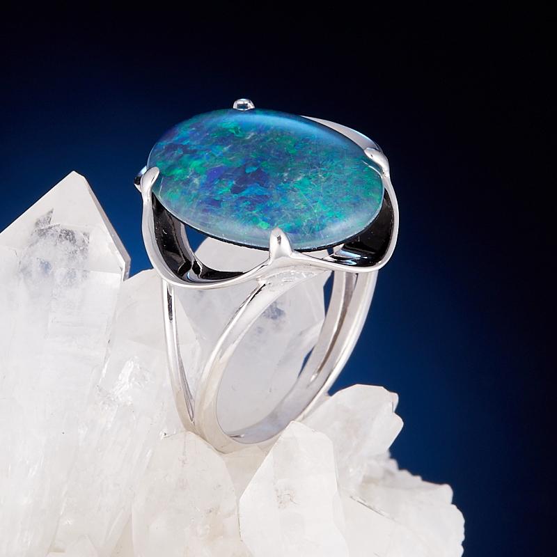 Кольцо опал благородный синий (триплет)  (серебро 925 пр.) размер 18