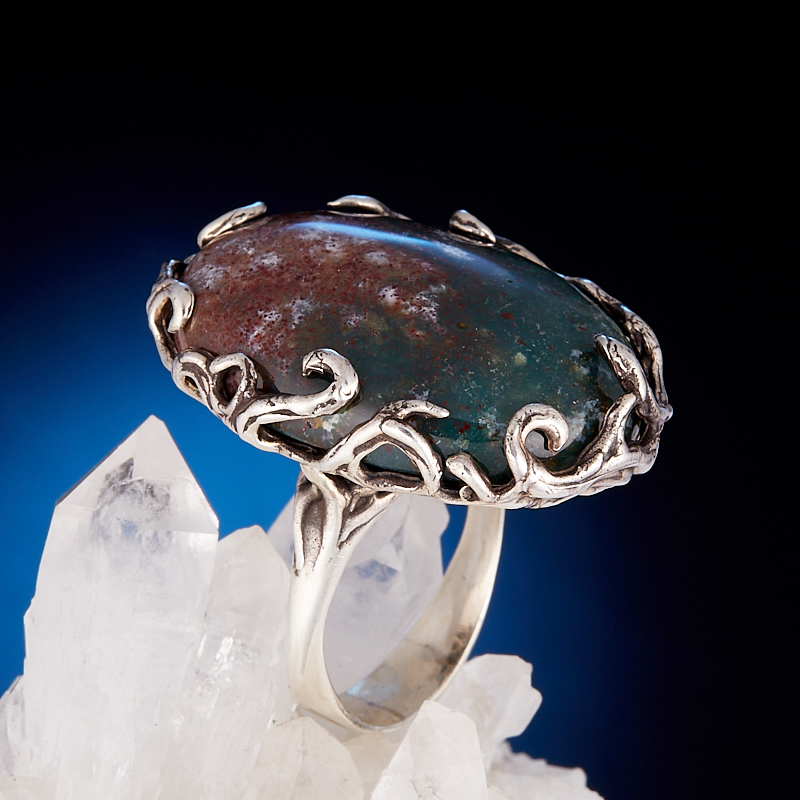 Кольцо яшма  (серебро 925 пр.) размер 18