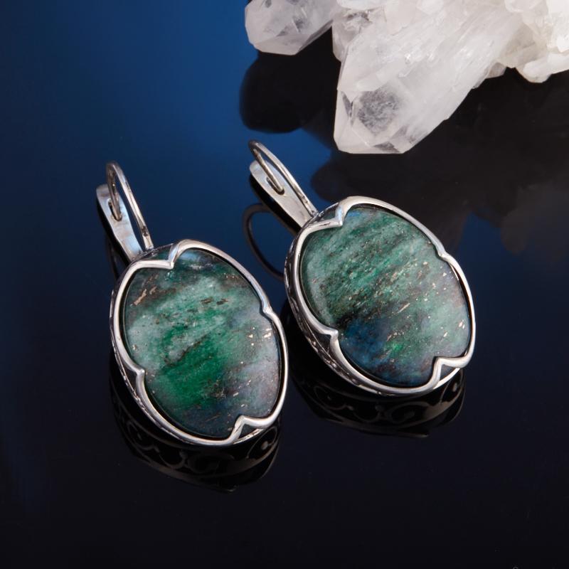 Серьги авантюрин зеленый  (серебро 925 пр.) браслет авантюрин зеленый огранка 10 мм 17 cм