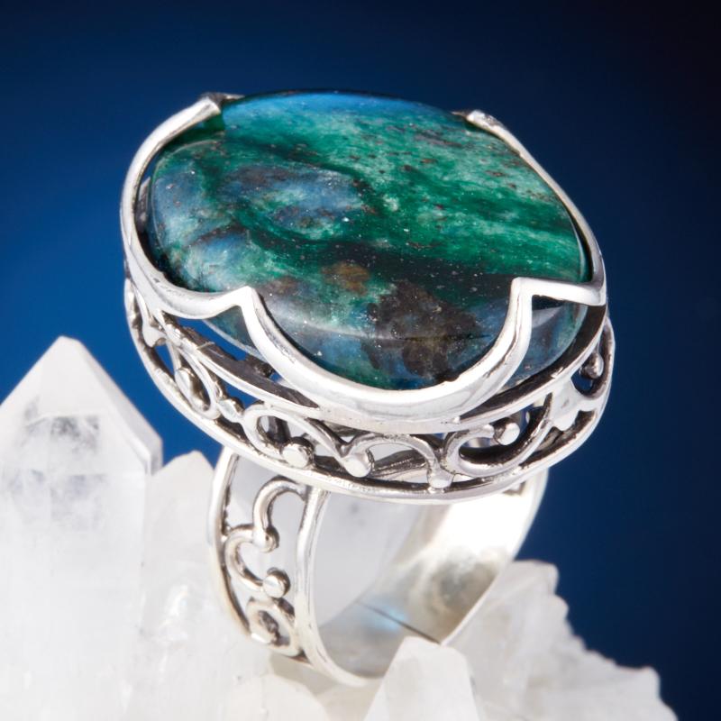 Кольцо авантюрин зеленый  (серебро 925 пр.) размер 18,5 кольцо капель авантюрин