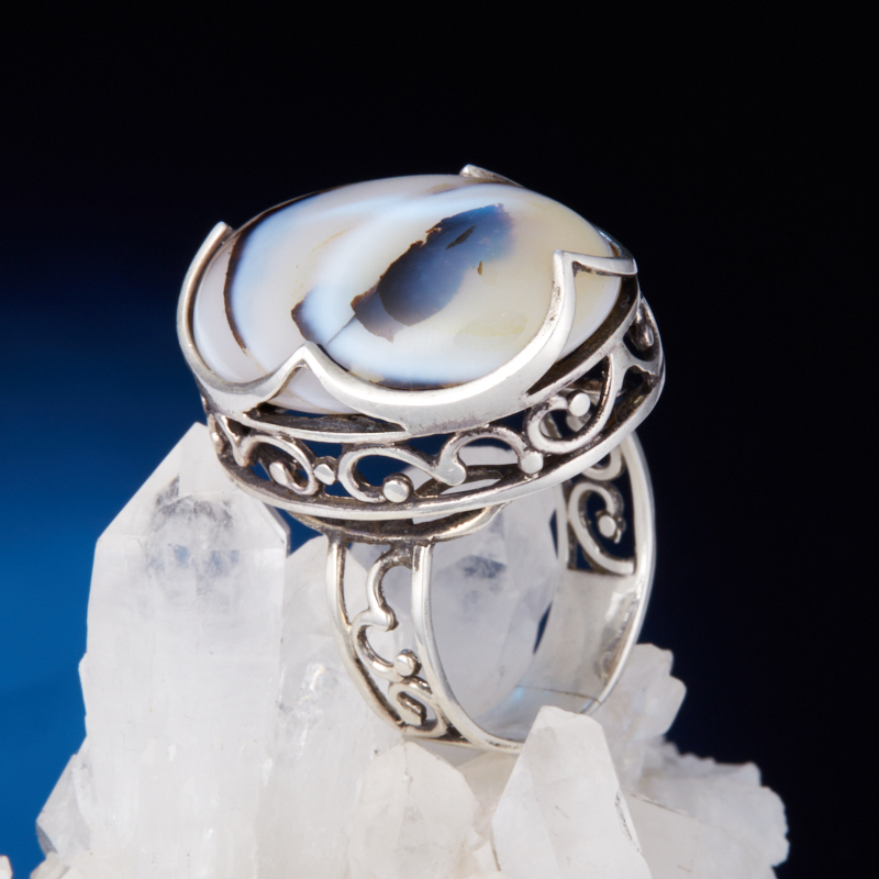 Кольцо агат  (серебро 925 пр.) размер 18