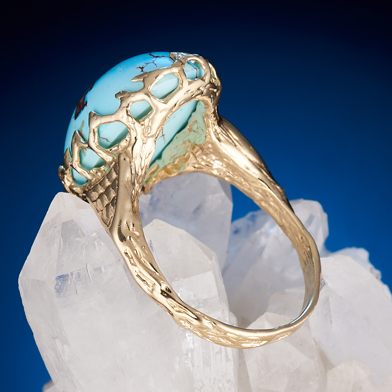 Кольцо бирюза Казахстан (золото 585 пр.) размер 18