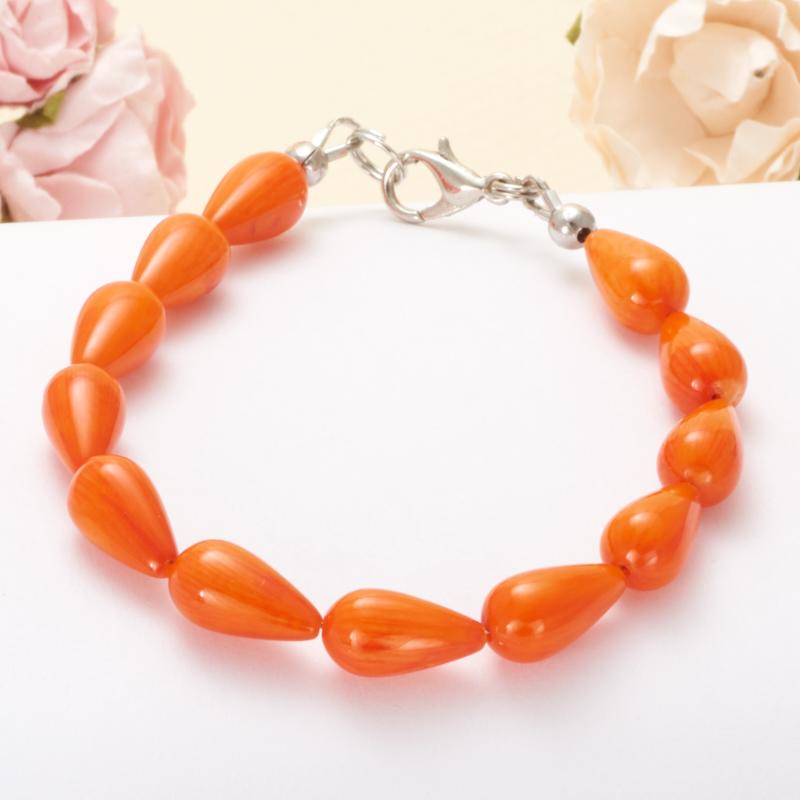 Браслет коралл оранжевый  19 см