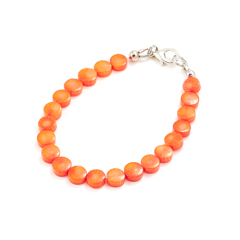 Браслет коралл оранжевый  6 мм 17 см бусина коралл оранжевый сплюснутый шар 6 мм 1 шт