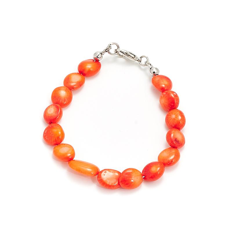 Браслет коралл оранжевый  16 см