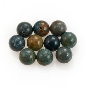 Бусина агат моховой зеленый Индия шарик 10-10,5 мм (1 шт)