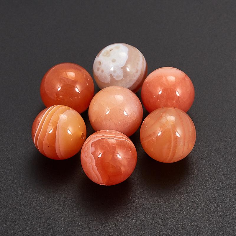 Бусина агат абрикосовый  шарик 10,5 мм (1 шт)