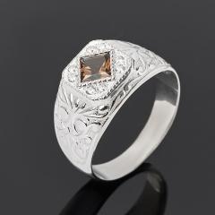 Кольцо раухтопаз Бразилия огранка (серебро 925 пр. родир. бел.) размер 20,5
