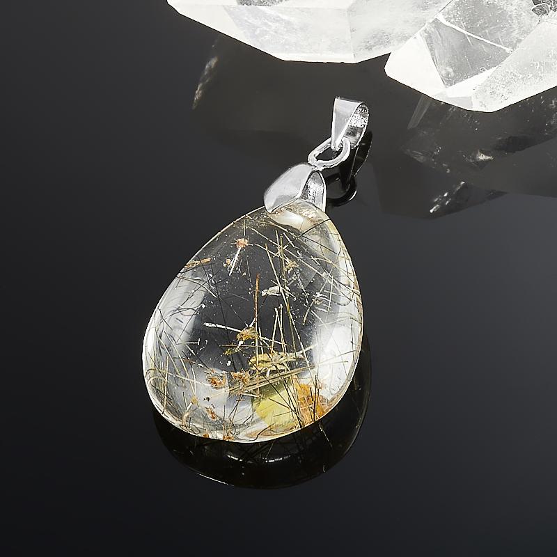 Кулон капля рутиловый кварц  4 см украшения с рутиловый кварц