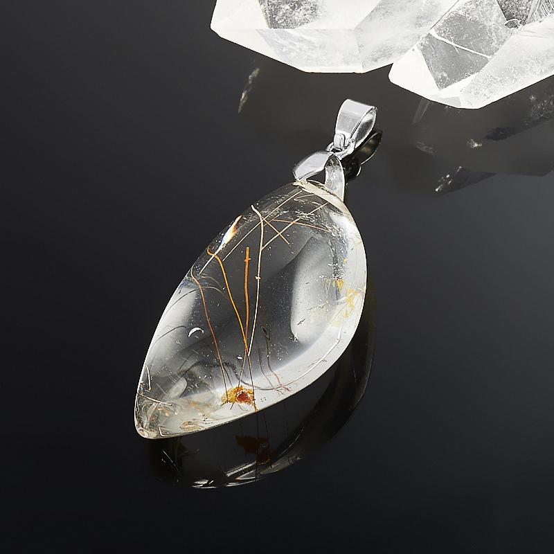 Кулон рутиловый кварц  5 см украшения с рутиловый кварц